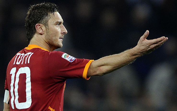 AS Roma's forward Francesco Totti  react