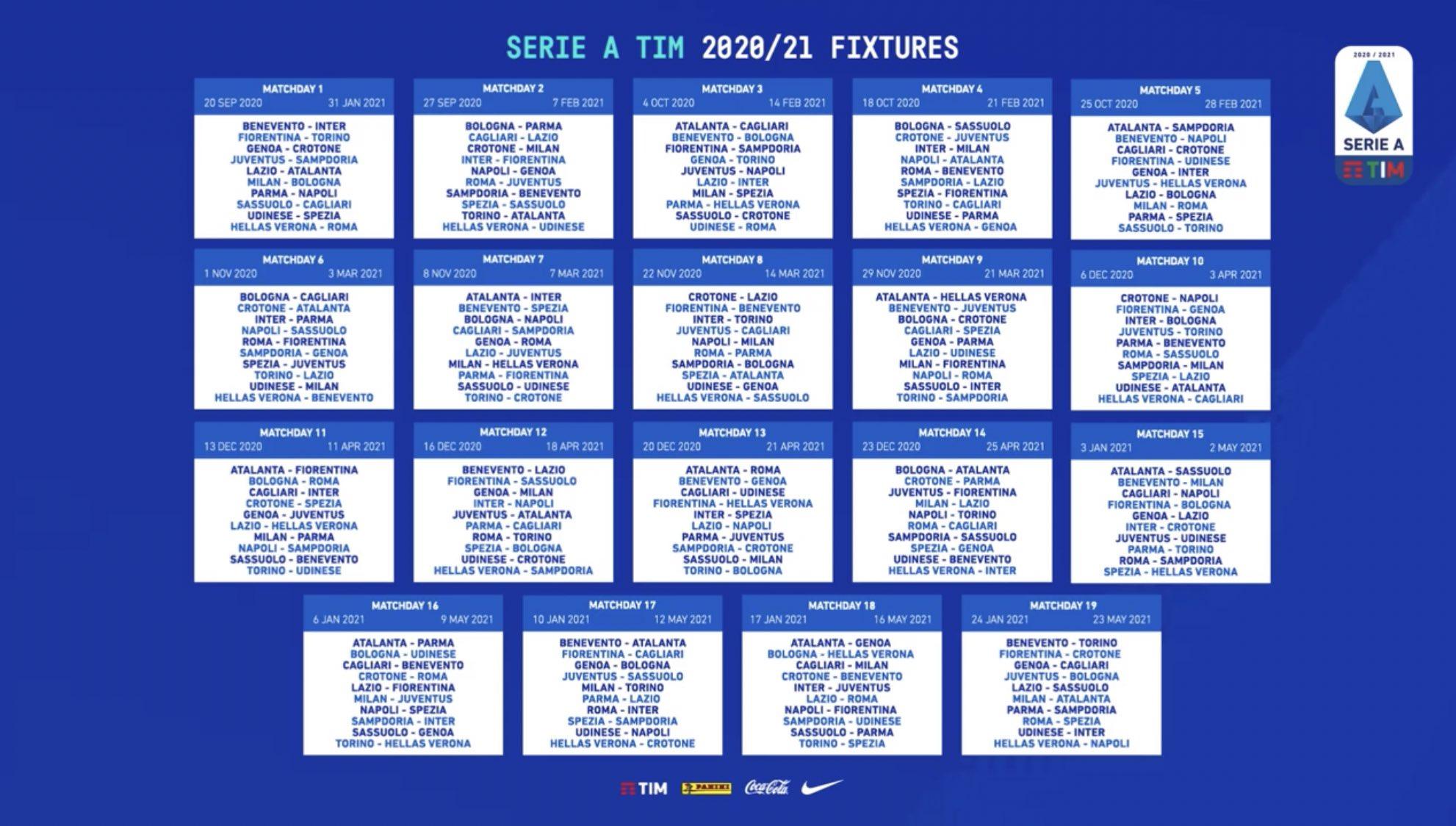 Calendario Serie A: Verona Roma alla prima di campionato, poi
